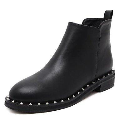 RTRY Zapatos De Mujer Pu Caída De La Moda Botas Botas Bajo El Talón Puntera Redonda Botines/Botines For Casual Negro Us8.5 / Ue39 / Uk6.5 / Cn40 US6 / EU36 / UK4 / CN36