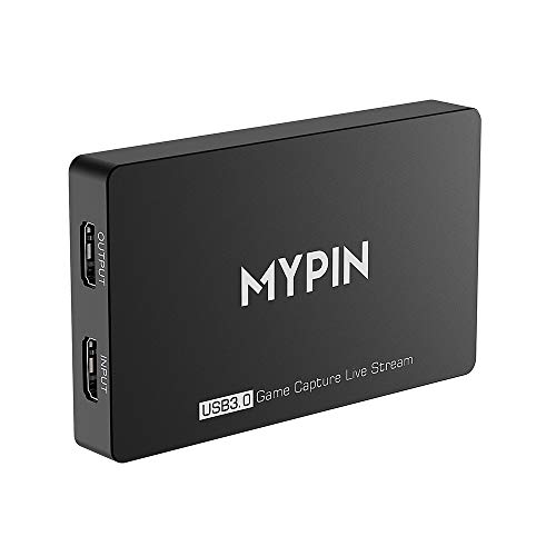 MYPIN 4k@60fps HDR USB 3.0 Game Capture Video Record in 1080P 60fps with Gamepad/Mic Audio Record, Live Streaming/Party Chat Compatible with PS3/ PS4 /Xbox One 360 /Wii U (Game Medium The Video Of)