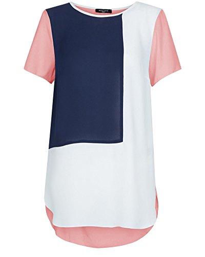 Shirt Taille Mousseline Chemise Courte Couture Qitun Manche Femme Grande Tops Navy T qYx6B