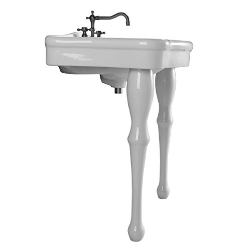 White Wall Mount Single Basin Bathroom Console Sink With