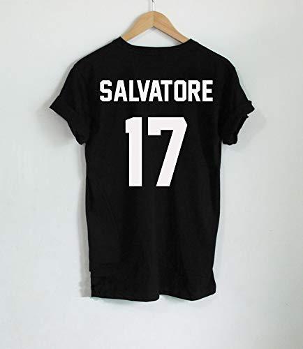 wangxiyan Casual Salvatore 17 Back Print T-Shirt Year of Birth Vampire Diaries Mystic Falls Tops Graphic Tee Shirts Tumblr Tshirt for Men Women(Gray,S)