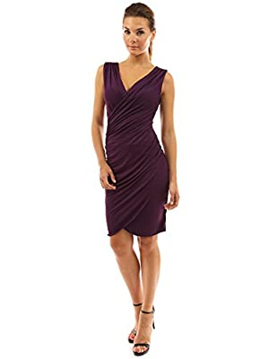 PattyBoutik Women's V Neck Faux Wrap Ruched Day Night Dress