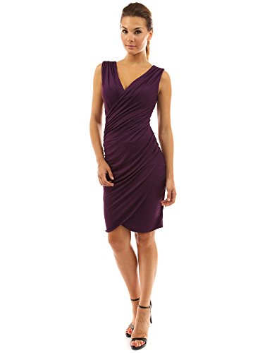 PattyBoutik Women's V Neck Faux Wrap Ruched Day Night Dress (Purple M)