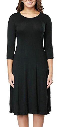 Jaycargogo Des Femmes De Couleur Unie Col Rond Manches 3/4 Noir Robe Midi