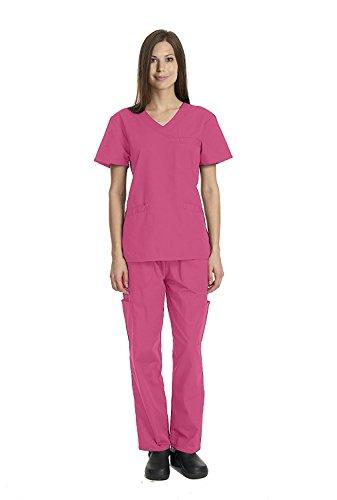 Deluxe 4pk Medical Scrubs for Women Nurse Uniform Set Solid V-Neck, 7 Pocket - Hot Pink, X-Large