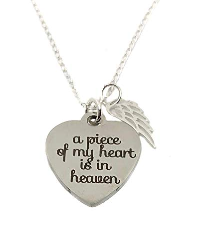 Stainless Steel A Piece of My Heart is in Heaven Charm, Angel Wing Sterling Silver Necklace 18
