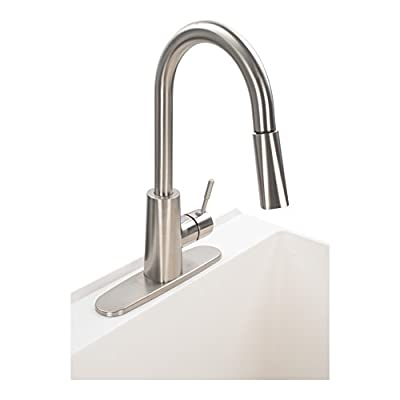 Laundry Sink Utility Tub With High Arc Kitchen Faucet By MAYA - Pull Down Sprayer Spout, Heavy Duty Sinks With Installation Kit for Washing Room, Workshop, Basement, Garage, Slop Sink