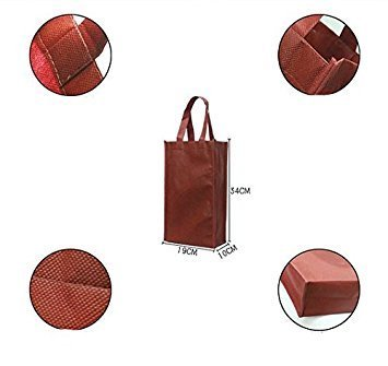 Syndecho Pack of 6 Wine Red Double Wine Bottle Reusable Double Gift Bag for Wine Sparkling Wine and Champagne