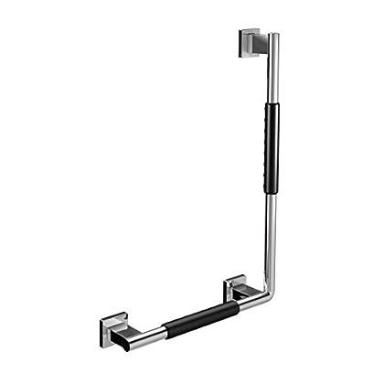 Image of Bath & Shower Grab Bars Emco 357021206 Offset Handle System 2 90 Degrees Left with Anti-Slip Casing Chrome/Black