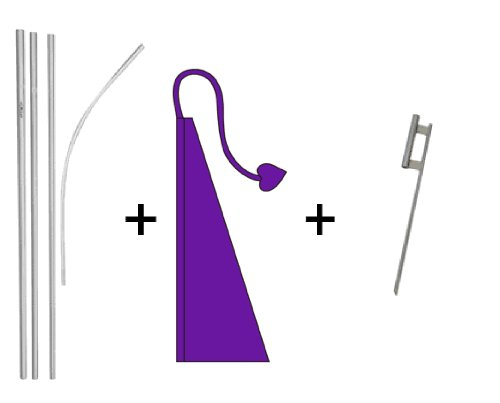 - Plum Purple Wind Dancer Flag with one 16 ft 4 piece pole swooper pole and 24 inch ground spike.