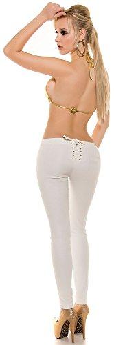 Damenhose - mit Nieten und Schnürung - Gr. S M L XL Hose Skinny Pants Röhre Damen (900606 Gr. XL weiß)