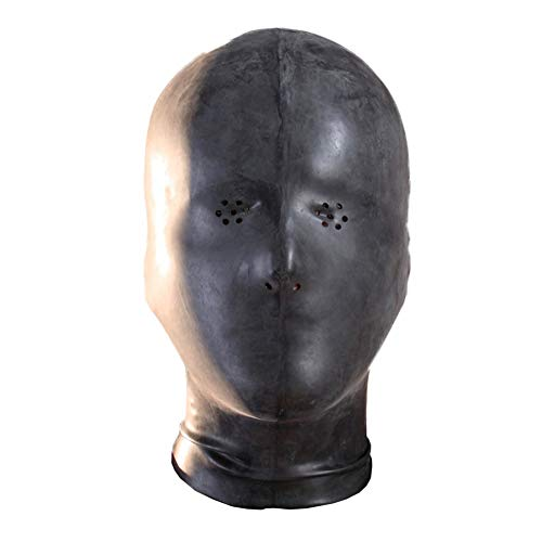 EXLATEX Latex Hood Mask Unisex Rubber Mask Perforated Eyes with Nostril (0.6mm, with Zipper)