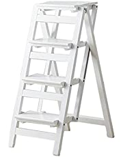 Step Stools 4 Steps Wooden Ladder Chair Step Stool Multifunction Foldable Shelving Ladder Home Library Ladder 150kg Capacity,White