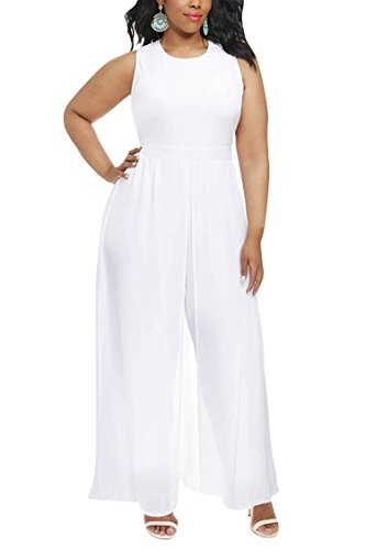 Pink Queen Women Plus Size Sleeveless Long Chiffon Overlay Going Out Jumpsuit White 4X