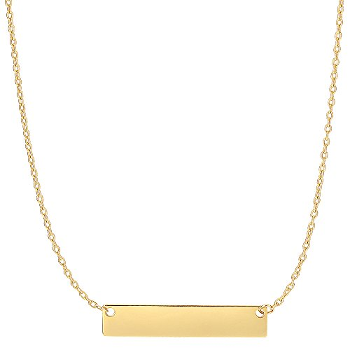 Engravable Gold Pendants - 14k Yellow Gold Engravable Bar Pendant On 18