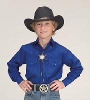 Childrens Button Down Cotton Western Cowboy Shirt-Royal-Medium