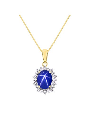 Princess Diana Inspired Halo Diamond & Blue Star Pendant Necklace Set In Yellow Gold Plated Silver .925 with 18