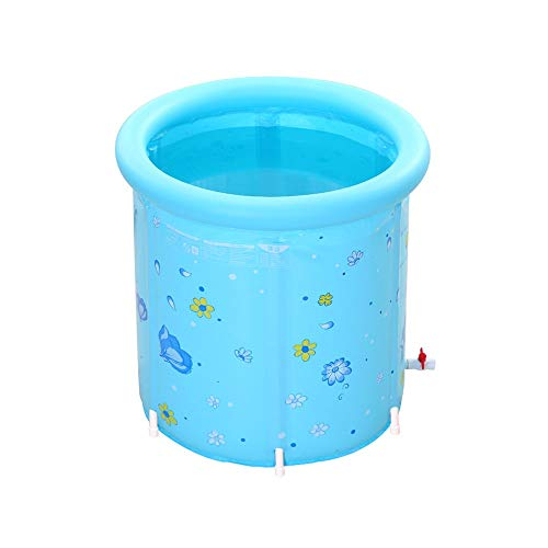 Zr Foldable Round Bracket Portable Double Drain Bathtub, Plastic Waterproof to Keep Temperature Bath and air Ring backrest