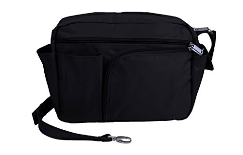 BeSafeBags Anti-Theft RFID Travel Handbag, Large, 13 Pockets and Organizer, Detachable Security Strap, by DayMakers, Black