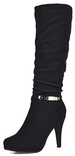 DREAM PAIRS Women's Sarah Black Knee High Platform Heel Boots Size 8.5 M ()