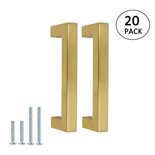 20pack Brushed Brass Kitchen Cabinet Handles Square Gold Cabinet Pulls Dresser Door Handle 96mm 3 3/4in Hole Centers, 106mm 4 1/2in Overall Length Drawer Pulls and Knobs, Cabinet Hardware