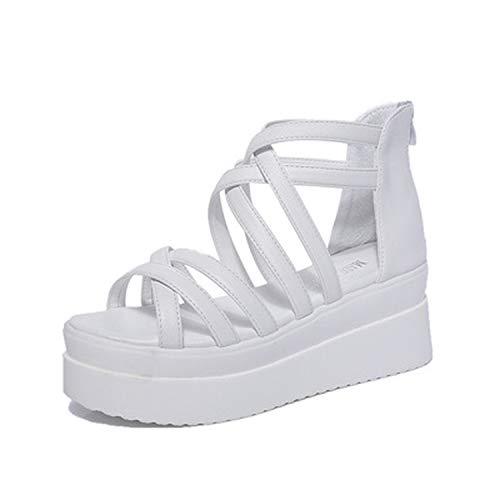 Summer Cross dewy Toe Women Sandals Sponge Base Platform Height with The Roman Sandals Female White -