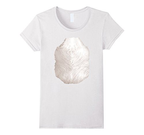 Womens Polar Bear T-Shirt Halloween Costume Funny Animal Belly Hair Medium White
