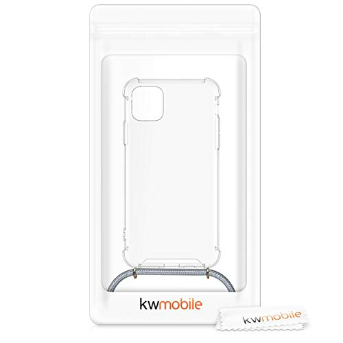 kwmobile Crossbody Case Compatible with Apple iPhone 11 Pro Max - Clear Transparent TPU Cell Phone Cover with Neck Cord Lanyard Strap - Transparent/Light Grey