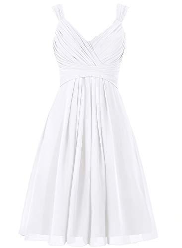 Bridesmaid Dress Short Prom Dress Chiffon Simple Party Dress for Junior White M