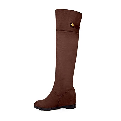 4 5 US with Round Solid Leather M Button Heels Toe Boots B Closed Brown Womens Synthetic AmoonyFashion Kitten fT6qO6x