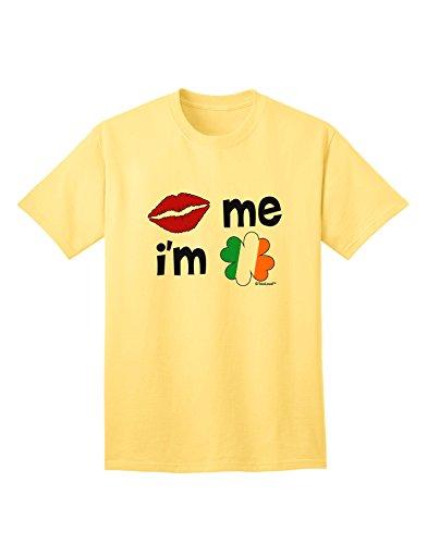 (TooLoud Kiss and Irish Flag Shamrock - Kiss Me I'm Irish Adult T-Shirt - Yellow - Large)