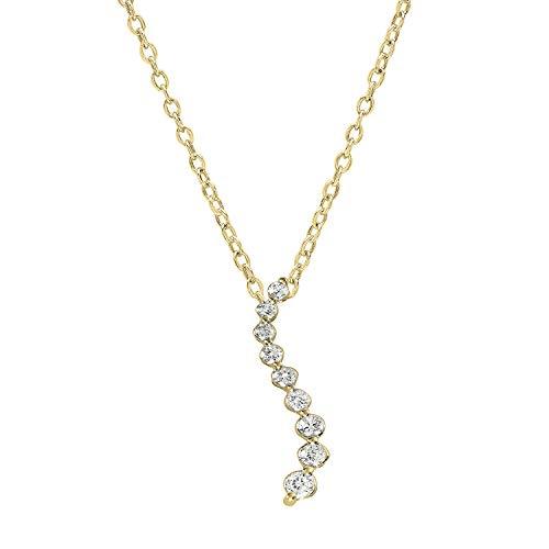 (Dazzlingrock Collection 0.16 Carat (ctw) 18K Round Diamond Ladies Journey of Life Pendant, Yellow Gold)