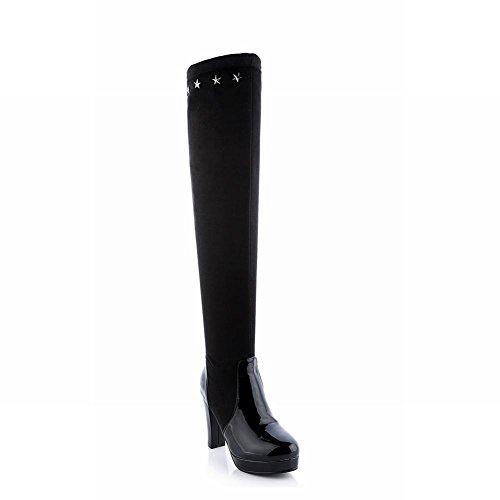 Carolbar Boots Fashion Shaped Dress Womens Black Heel Tall Chic High Studded Platform Star rcPrqUaxH