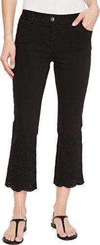 Elliott Lauren Women's Five-Pocket Crop Jeans With Eyelet Hem in Black Black 2 (Eyelet Crop Pants)