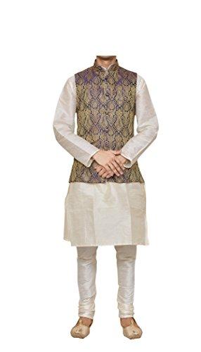 (Mag Men's Cream Matching silk Kurta Churidhar With Purple Waistcoat (RG-10772-44))