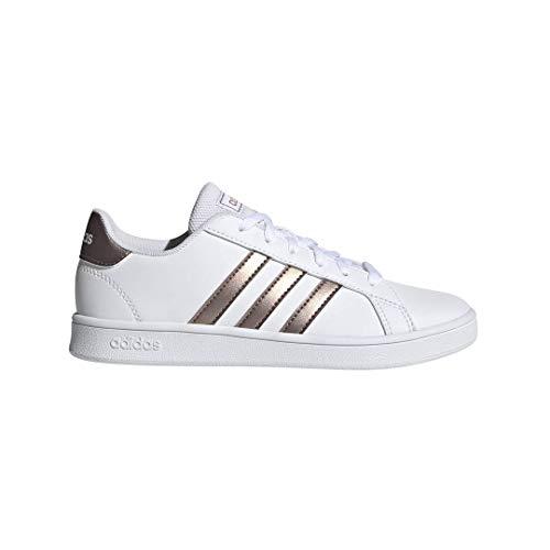 adidas Unisex-Kid's Grand Court K Sneaker, White/Copper Metallic/Glow Pink, 1 M US Little Kid