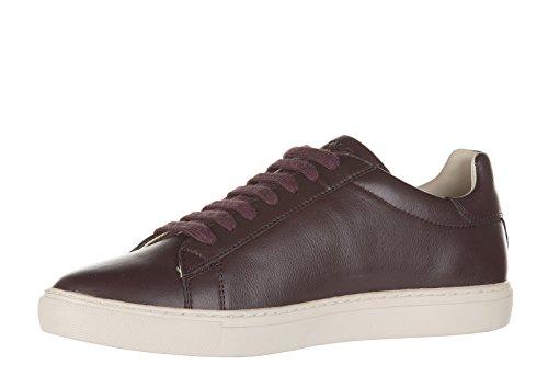Armani Jeans chaussures baskets sneakers homme en cuir bordeaux
