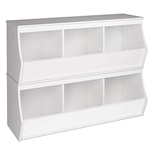 Nantucket White Toy - Prepac Monterey Stacked 6-Bin Storage Cubby, White