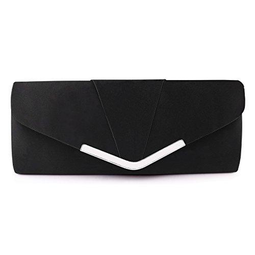 Womens Satin Clutch Evening Handbag for Party Cocktail Wedding Elegance Envelope Purse Wallet Bag Black (Clutch Satin Evening)