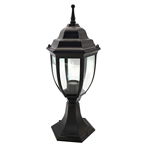 OSTWIN 1-Light Outdoor Garden Post Lantern L04 Lighting Fixture, Traditional Post Lamp Patio with One E26 Base, Water-Proof, Black Cast Aluminum Housing, Clear Glass Panels, ETL Listed ()