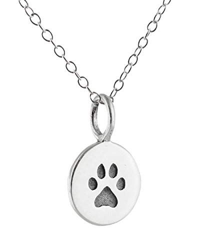 (FashionJunkie4Life Sterling Silver Small Dog Cat Paw Print Charm Necklace 18