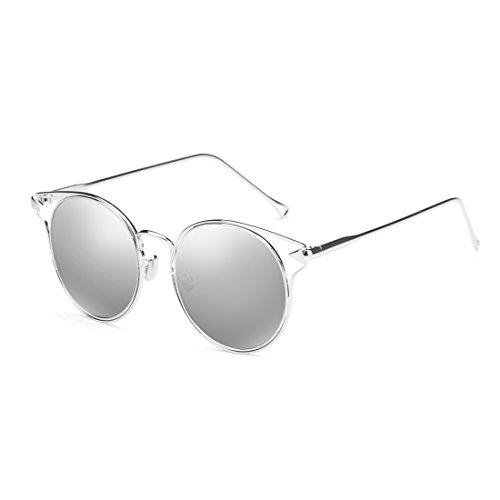 couleur Couleur Fashion protection de Lady personnalité Rose polarisées transparentes Silver solaire de Lunettes de ZHIRONG protection circulaire UV soleil Retro lunettes xzqWvU6nYB