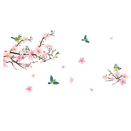 Romantic Flowers Butterflies Trees Wall Stickers Cartoon Animals Removable Wall Decals Home Decor PVC Art Mural Baby Boys Girls Kids Bedroom Kitchen Room Decoration (Pink flowers Blue Birds) (Bird Decals Wall Blue)