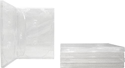Square Deal Recordings & Supplies (5) 6-Disc Capacity Super Clear 14MM DVD Empty Replacement Cases with Wrap Around Sleeve #DV6R14CL (Dvd Replacement Sleeves)