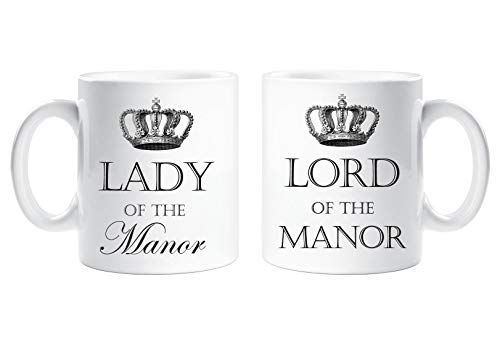 Lord of the Manor and Lady of the Manor Mug Set Novelty Cup Gift Present -