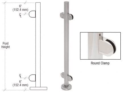 Glass Clamps 180° Stainless Steel Railing Round Post
