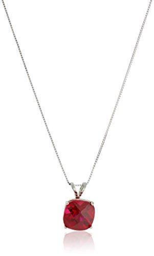 14k White Gold Cushion Checkerboard Cut  Created Ruby Pendant Necklace (8mm)