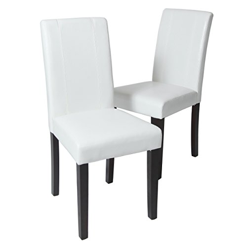 (Roundhill Furniture Urban Style Solid Wood Leatherette Padded Parson Chair, White, Set of 2)