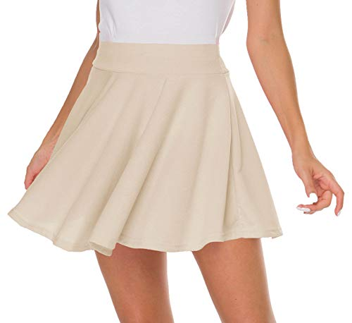 Sinono Basic Stretchy Solid Flared Casual Mini Pleated Skater Skirt (Large, Khaki)