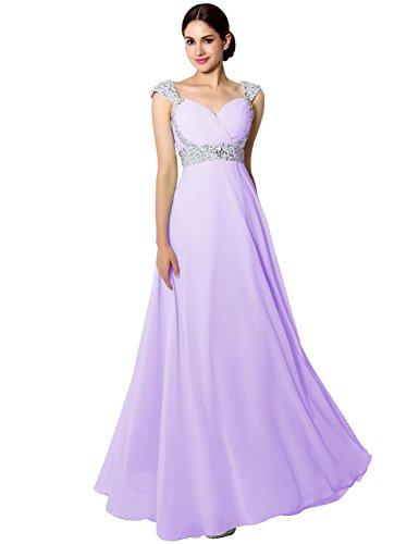 Lang Abendkleid Elegant Träger mit Brautjunfernkleid Glitzer Ballkleid Damen Lila CSD179 Clearbridal ZwqHt